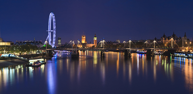 Venues in London at night